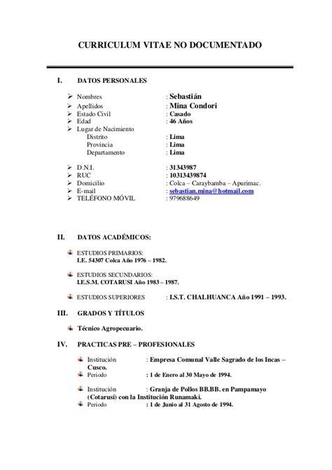 Modelo De Curriculum Vitae No Documentado 2014 Detractors Agreeable Cf